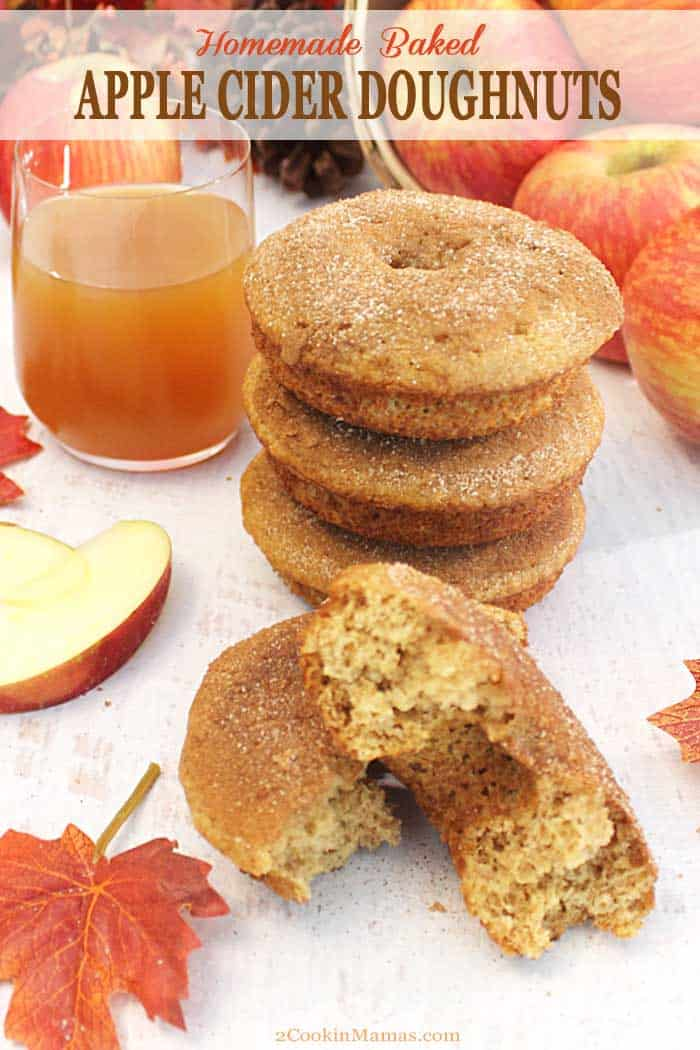 Apple Cider Doughnuts 2 | 2 Cookin Mamas Fresh baked, fluffy apple cider doughnuts bring the taste and aromas of fall to your breakfast table. The rich taste of apple cider & apple pie spice makes you think of cool days, all sweetened with a topping of cinnamon sugar. #recipe #doughnuts #breakfast #applecider #fall #bakeddonuts