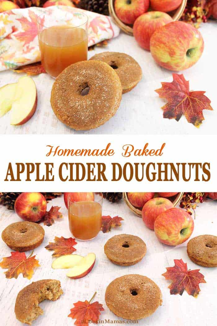 Apple Cider Doughnuts | 2 Cookin Mamas Fresh baked, fluffy apple cider doughnuts bring the taste and aromas of fall to your breakfast table. The rich taste of apple cider & apple pie spice makes you think of cool days, all sweetened with a topping of cinnamon sugar. #recipe #doughnuts #breakfast #applecider #fall #bakeddonuts