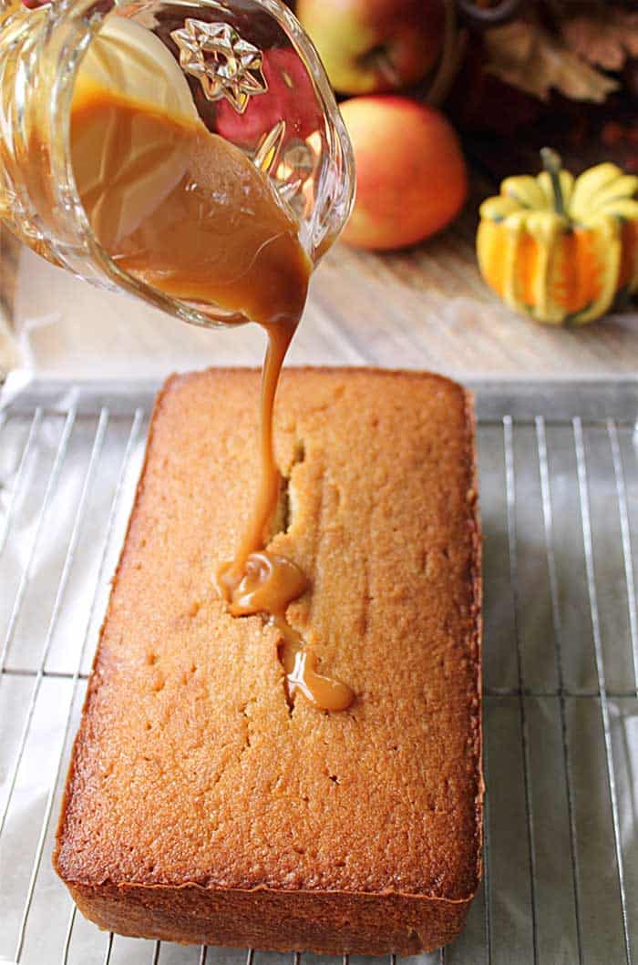Apple Cider Pound Cake drizzle