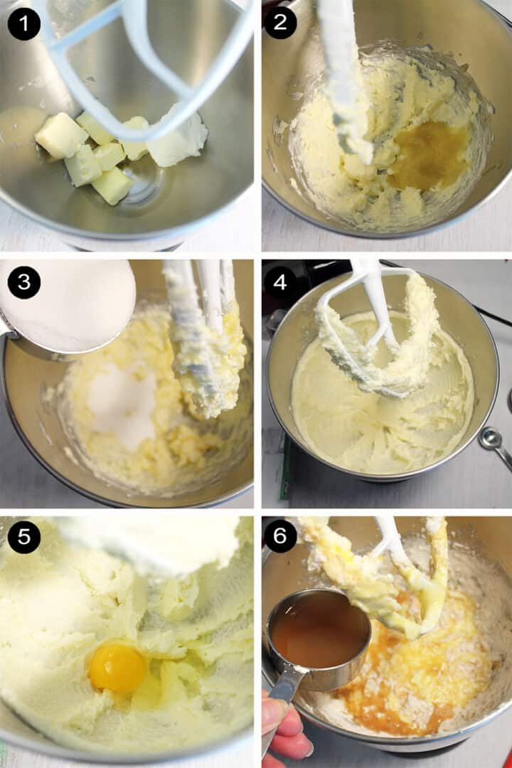 Steps to make apple cider pound cake.
