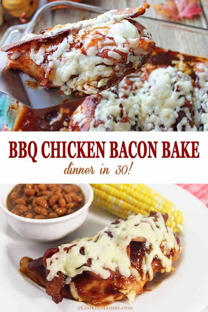 BBQ Chicken Bacon Bake | 2 Cookin Mamas This BBQ Chicken Bacon Bake is an easy dinner for busy weeknights. Chicken is layered with your favorite BBQ sauce then topped with crispy bacon and melted cheddar cheese for the perfect comfort food dinner. And it's ready in about 30! #dinner #chicken #recipe #bacon #cheese