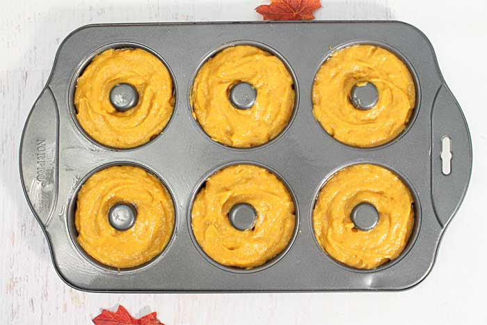 Baked Pumpkin Doughnuts with Crumb Topping ready for crumbs