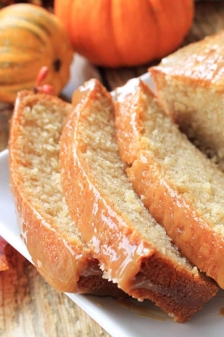 Closeup of sliced apple cider donut cake.