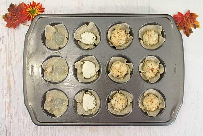 Goat Cheese Crab Wonton Cups prep