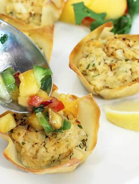 Goat Cheese Crab Wonton Cups with Nectarine Salsa square 1