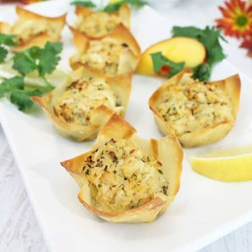 Goat Cheese Crab Wonton Cups with nectarine Salsa square