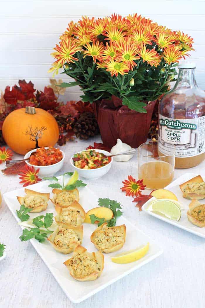 Goat Cheese Crab Wonton Cups with nectarine Salsa table setting