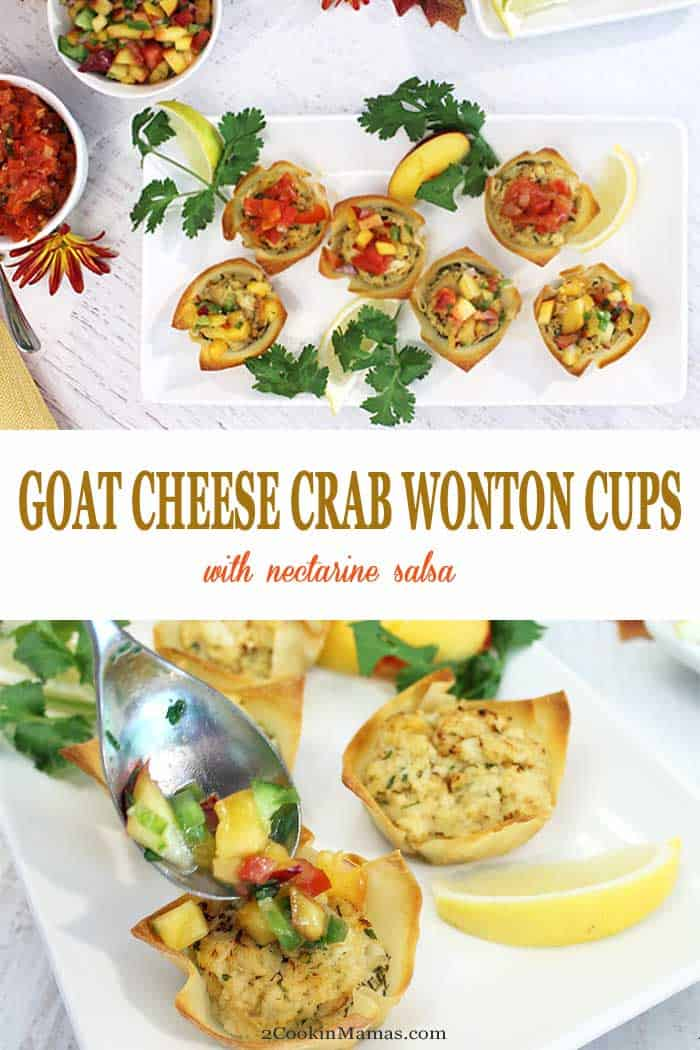Goat Cheese Crab Wonton Cups | 2 Cookin Mamas Goat Cheese Crab Wonton Cups are an easy, tasty appetizer for entertaining. Creamy goat cheese is topped with a mini crab cake and baked in a wonton cup for the perfect handheld appetizer that is sure to please all seafood lovers. Top them with a little nectarine salsa for an extra special kick. #appetizer #crabcakes #goatcheese #fall #recipe #wontoncups #TheFreshMarket #TFMCrabBash @TheFreshMarket #AD