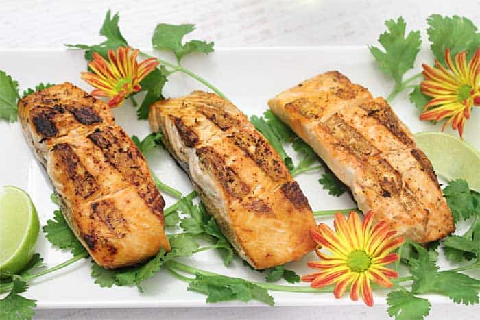 Grilled Salmon with Red Pepper Sauce plated 2