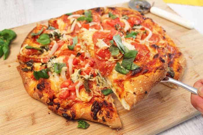 Homemade Pepperoni Pizza serving slice