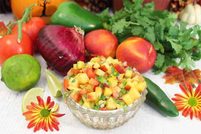 Nectarine Salsa with ingredients