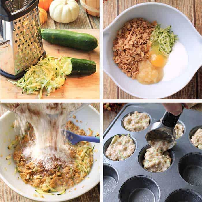 Zucchini Bran Muffins Steps 1-4