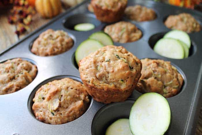 Zucchini Bran Muffins closeup on pan