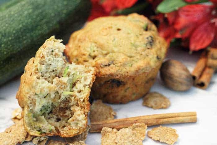 Zucchini Bran Muffins cut closeup