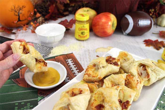 Cheesy Apple Bacon Bundles ready to dip