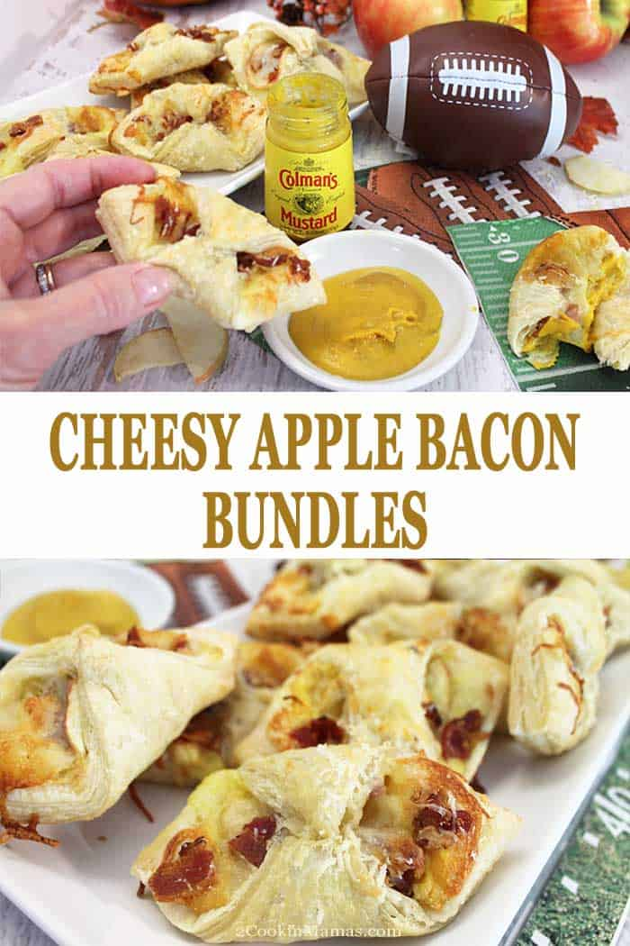 Cheesy Apple Bacon Bundles | 2 Cookin Mamas Cheesy Apple Bacon Bundles are a must for your next tailgating party. A lot cheesy, a little sweet, a bit of salty and a lot of tang is wrapped in puff pastry and baked til golden. Eat them with one hand while cheering on your team with the other. Go team! #HotMessAround #BringThePunch #ColmansMustard #appetizer #tailgating #puffpastry #bacon #cheese #apples #ad