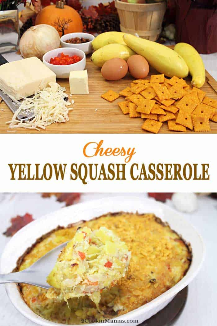 Cheesy Yellow Squash Casserole | 2 Cookin Mamas This Cheesy Yellow Squash Casserole will become your new holiday favorite. Yellow squash, cheddar cheese, bacon bits & Cheez-Its combine for the most delectable side. #sidedish #yellowsquash #Thanksgiving #Christmas #bacon #cheese #casserole #vegetables #recipe