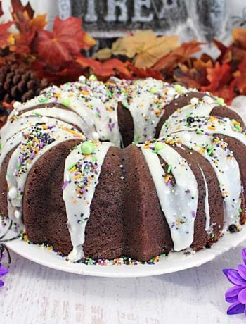 Chocolate Brown Sugar Bundt Cake with Cheesecake Swirl square