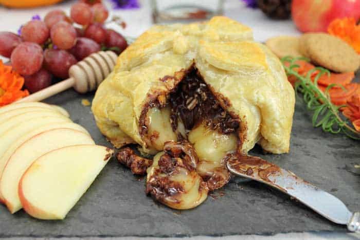 Chocolate Honey Walnut Baked Brie closeup cut