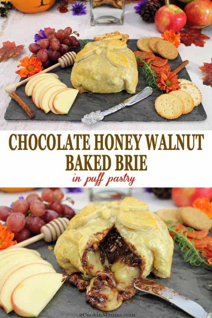 Chocolate Honey Walnut Baked Brie in Puff Pastry   2 Cookin Mamas Cheese trays never tasted or looked better than with this unusually delicious Chocolate Honey Walnut Brie in Puff Pastry on them. Cut into the flaky pastry and watch the softened brie, melted chocolate and cinnamon walnuts ooze out. It's truly a mouthwatering appetizer for holiday parties. #appetizers #brie #cheesetray #chocolate #puffpastry @ForteChocolates #Choctoberfest #sponsored