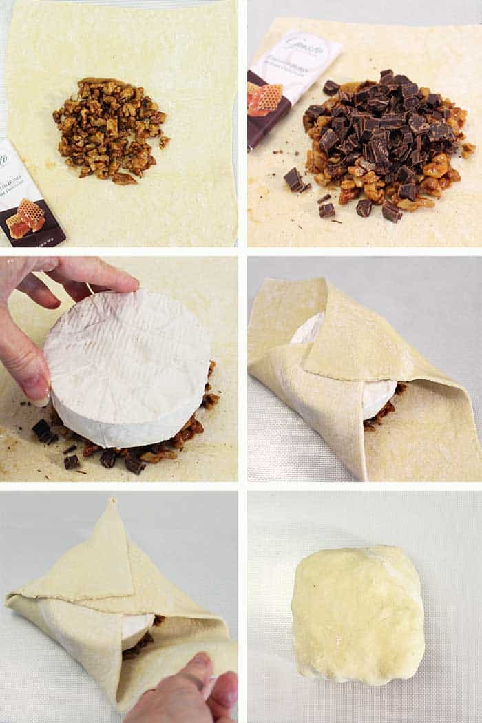 Chocolate Honey Walnut Baked Brie in Puff Pastry prep