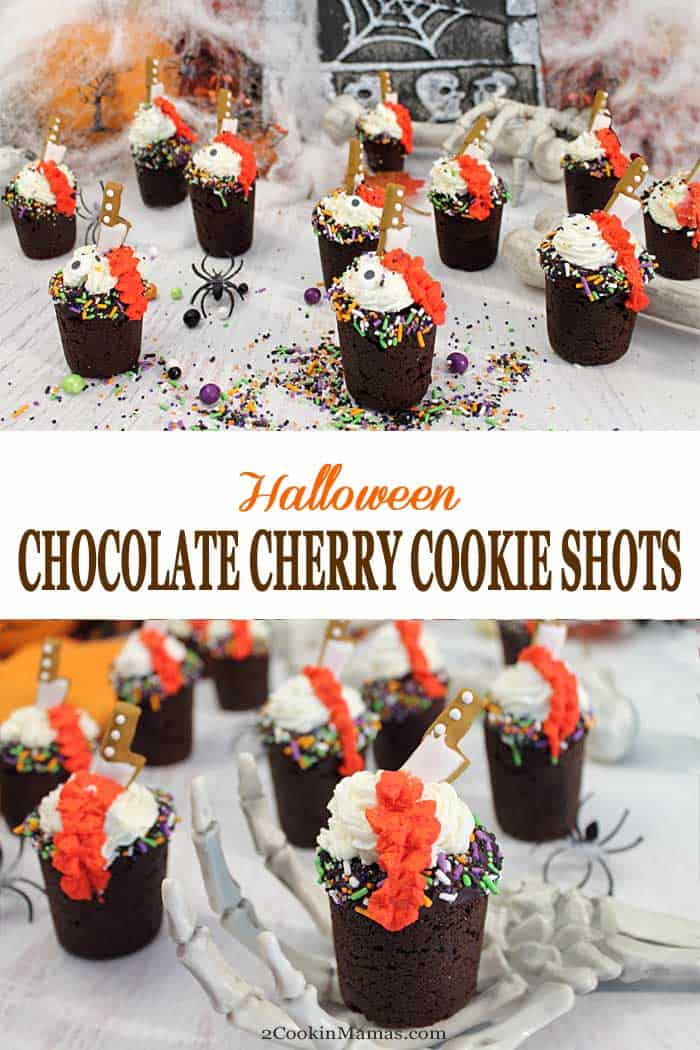 Halloween Chocolate Cherry Cookie Shots | 2 Cookin Mamas Spooky Halloween Chocolate Cherry Cookie Shots are perfect for holiday parties. Rich chocolate cookie shots are filled with cherry pie filling or your favorite shot then topped with whipped cream and Halloween sprinkles to complete an awesomely gruesome dessert. #cookies #cookieshots #Halloween #chocolate #cherries #dessert #choctoberfest @sprinklepopshop #ad