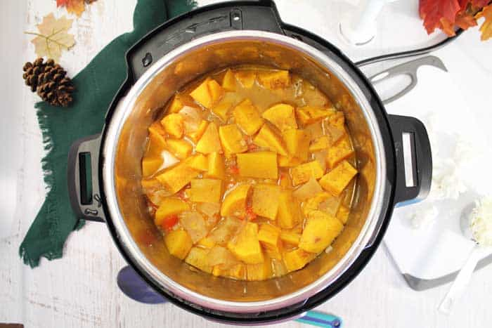 Instant Pot Sweet Potato Butternut Squash Soup finished cooking