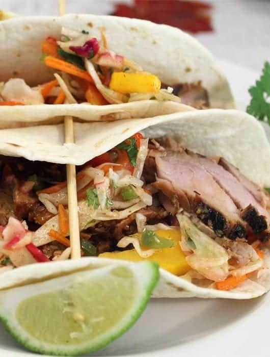 Korean Pork Tacos with Crispy Slaw closeup square