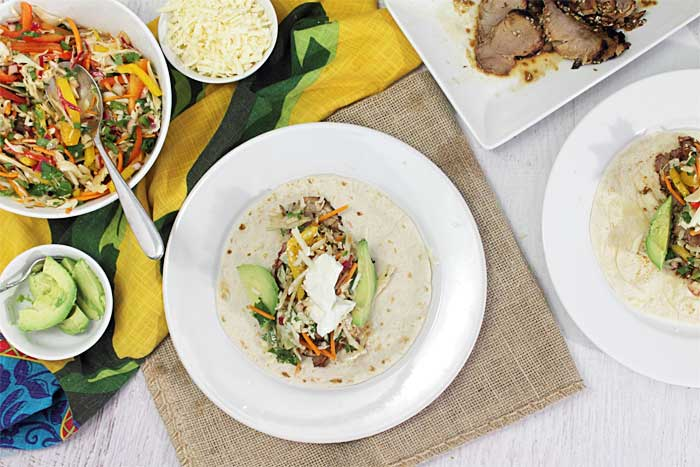 Korean Pork Tacos with Crispy Slaw plated