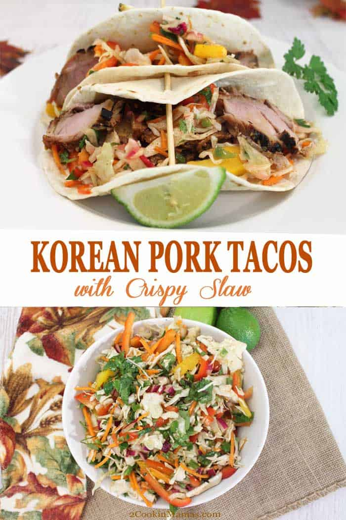 Korean Pork Tacos with Crispy Slaw | 2 Cookin Mamas These Korean Pork Tacos with Crispy Slaw are a delicious, quick and easy meal. Pile the bulgogi-seasoned pork  on warm tortillas and top with a refreshing, crispy, tangy slaw. These tacos are the perfect solution to leftover pork and no one will ever guess they're leftovers! #tacos #Korean #bulgogi #recipe #dinner #easydinner #porkloin #slaw