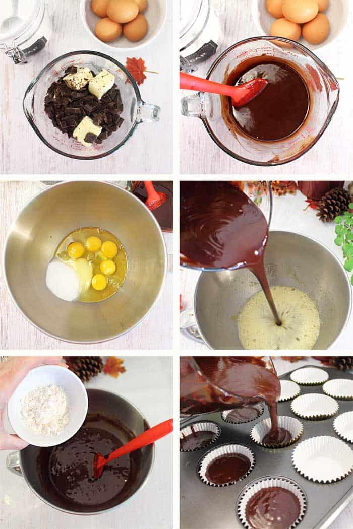 Molten Chocolate Cupcakes prep
