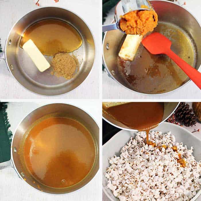 Pumpkin Caramel Popcorn caramel steps 1