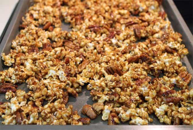 Pumpkin Caramel Popcorn ready to bake