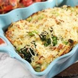 Cheesy Cauliflower Chicken Broccoli Casserole closeup square