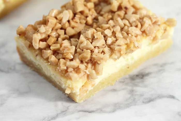 Creme Brulee Cheesecake Bars closeup