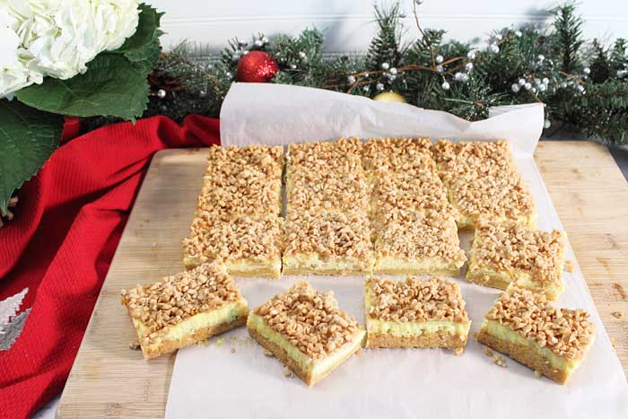 Creme Brulee Cheesecake Bars cut