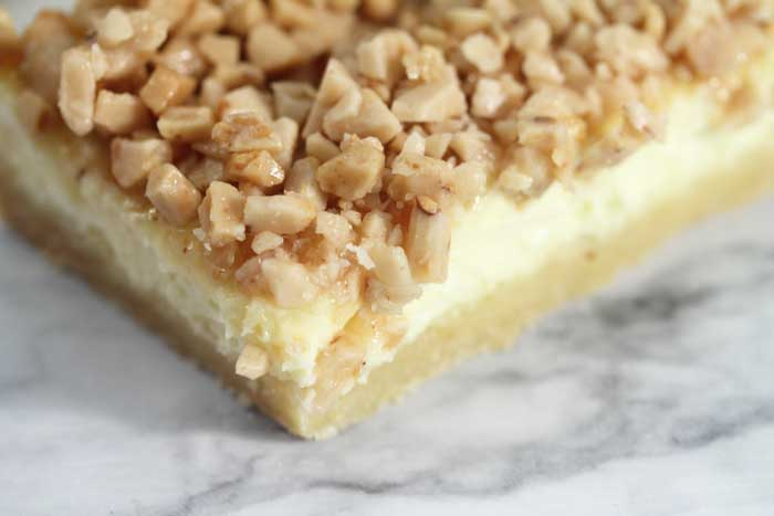 Creme Brulee Cheesecake Bars extreme closeup