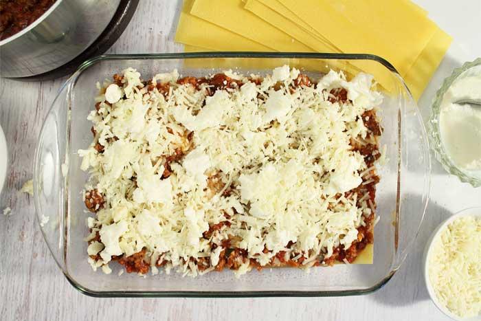 Homemade Meat Lasagna layer 3 cheese