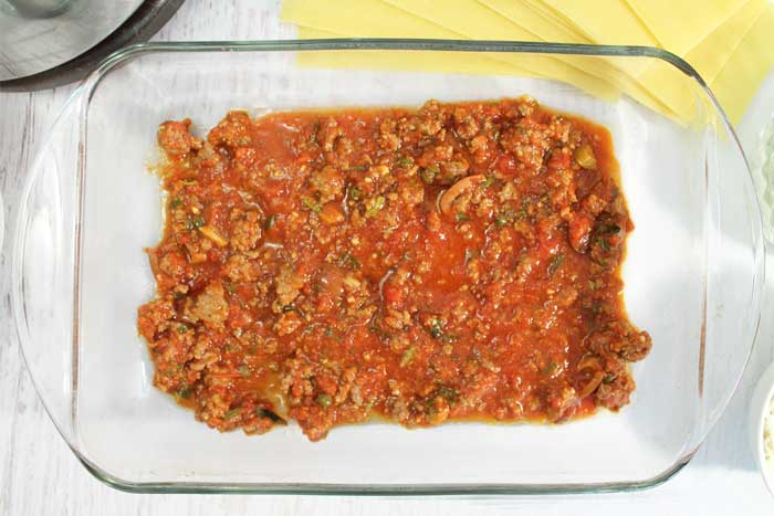 Homemade Meat Lasagna layer of meat sauce