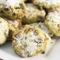 Pistachio Whipped Shortbread Cookies closeup square