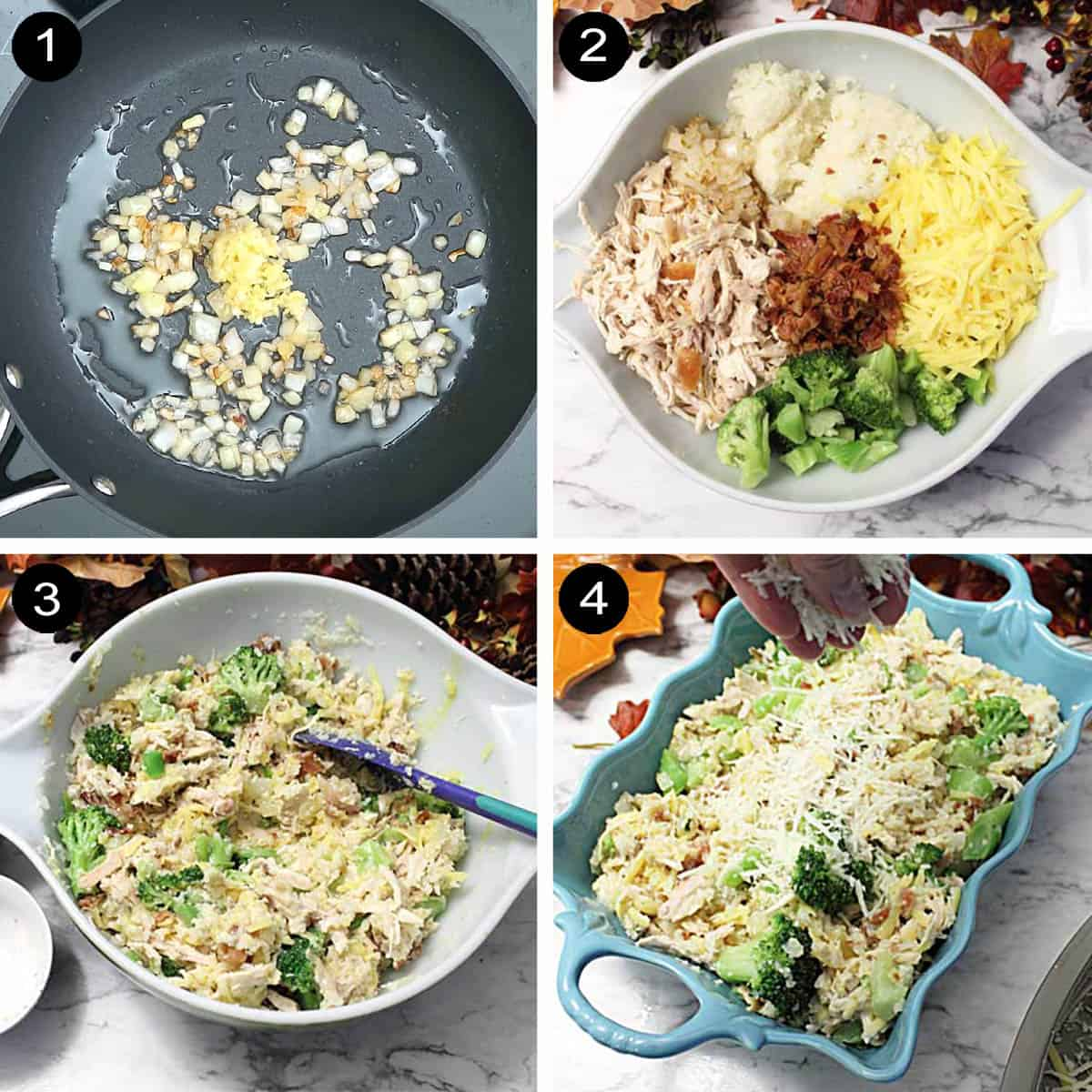 Prep steps for chicken broccoli cauliflower casserole.