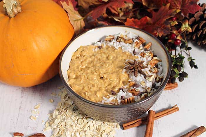 Pumpkin Pie Overnight Oats ready to eat wide