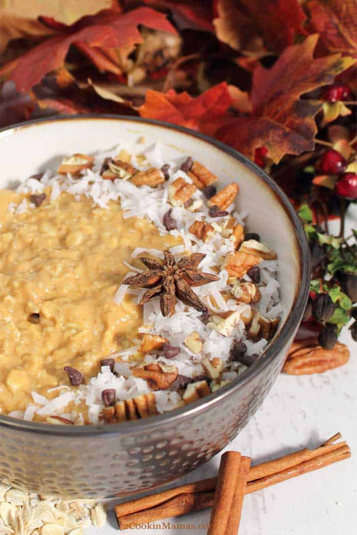 Pumpkin Pie Overnight Oats tall | 2 Cookin Mamas Hot, healthy oatmeal for breakfast during the week is not a dream! This Pumpkin Pie Overnight Oats is easy to prepare the night before then just heat and serve the next morning. Full of pumpkin pie flavor and spice and plenty of protein and fiber, it's bound to get your day started on the right foot. #oatmeal #overnightoats #breakfast #easyrecipe #recipe #pumpkin #greekyogurt #maplesyrup #oats
