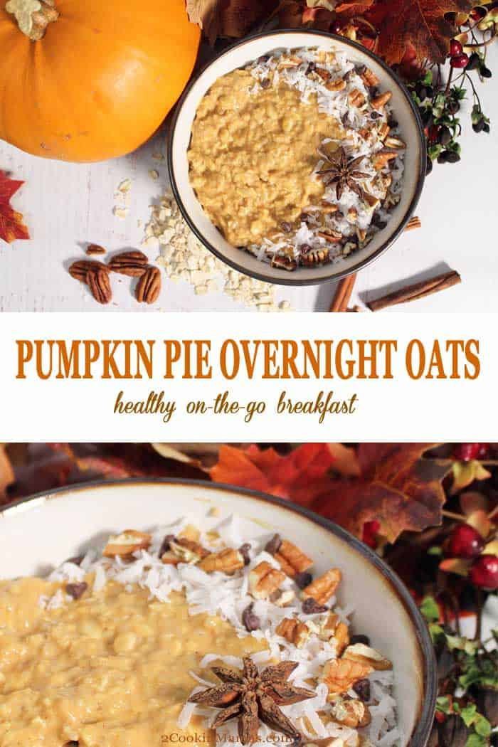 Pumpkin Pie Overnight Oats | 2 Cookin Mamas Hot, healthy oatmeal for breakfast during the week is not a dream! This Pumpkin Pie Overnight Oats is easy to prepare the night before then just heat and serve the next morning. Full of pumpkin pie flavor and spice and plenty of protein and fiber, it's bound to get your day started on the right foot. #oatmeal #overnightoats #breakfast #easyrecipe #recipe #pumpkin #greekyogurt #maplesyrup #oats