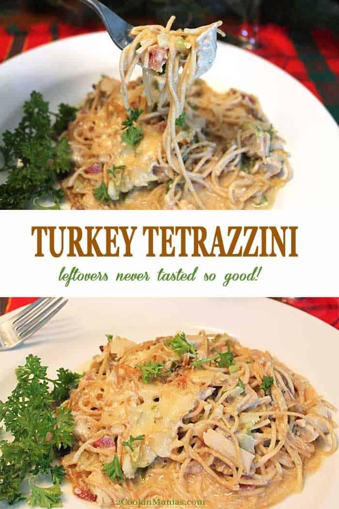 Turkey Tetrazzini | 2 Cookin Mamas Turkey Tetrazzini is the perfect dinner to make with your leftover turkey. Pasta is tossed with turkey and mushrooms and nestled in a rich cream sauce that's flavored with sherry, cheddar cheese and bacon. This recipe works just as well with a rotisserie chicken to help get you through the long winter.  This casserole is a delicious comfort food that no one will believe is leftovers! #turkey #leftovers #dinner #casserole #Thanksgiving #recipe #pasta