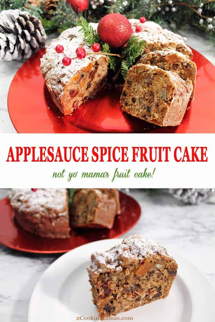 Applesauce Spice Fruit Cake | 2 Cookin Mamas This Applesauce Spice Fruit Cake is not your mama's fruit cake! A moist, dense, spicy cake, moistened with applesauce and filled with chopped nuts, coconut, raisins, dates and orange candy slices. It's a holiday tradition that just got tastier. Perfect sprinkled with powdered sugar or drizzled with a little caramel sauce. #cake #fruitcake #spicecake #dessert #Christmas #applesaucespicecake #recipe #baking