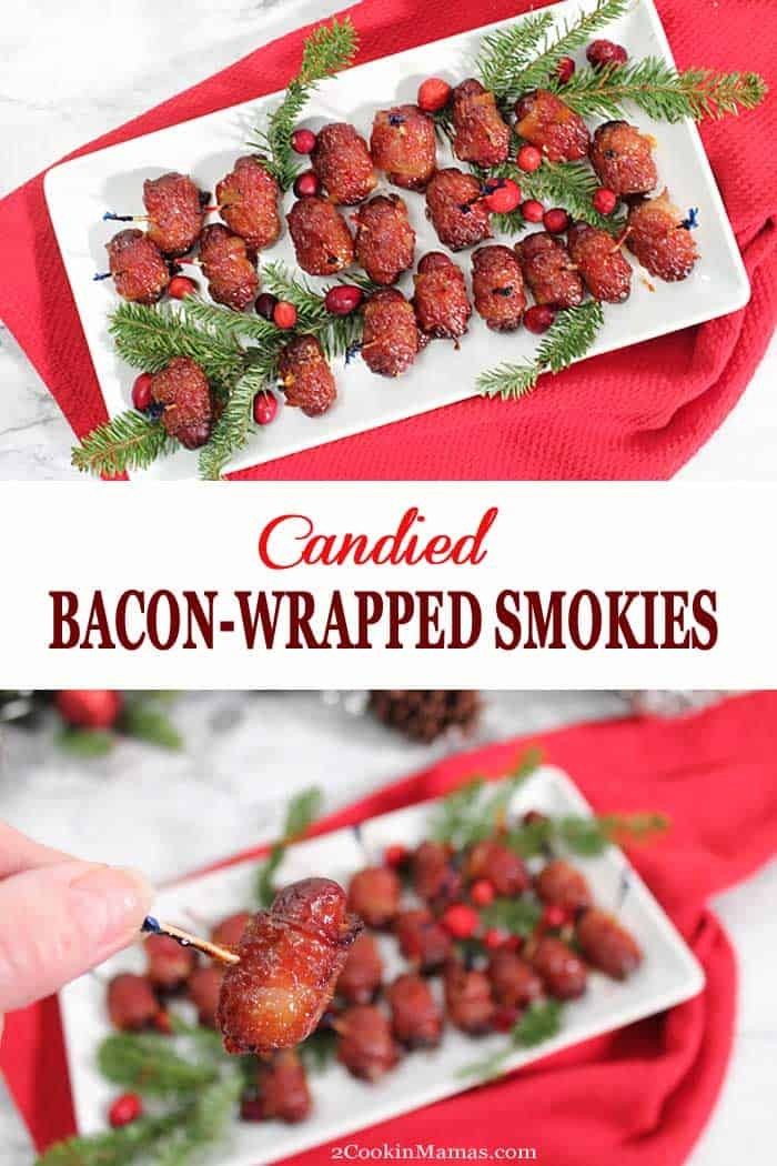 Candied Bacon Wrapped Smokies | 2 Cookin Mamas These Candied Bacon Wrapped Smokies should come with a warning. Addictive, super delicious and easy to make, smoky sausages are wrapped in bacon and topped with a brown sugar glaze that bakes into a glazed candy-like finish. It's an appetizer that's sure to be the hit of any New year's Eve party or Bowl game. #appetizer #sausage #bacon #newyearseve #tailgating #partyappetizer #recipe