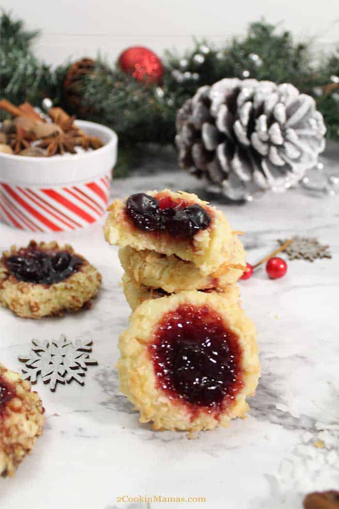 Cherry Jam Thumbprint Cookies 3