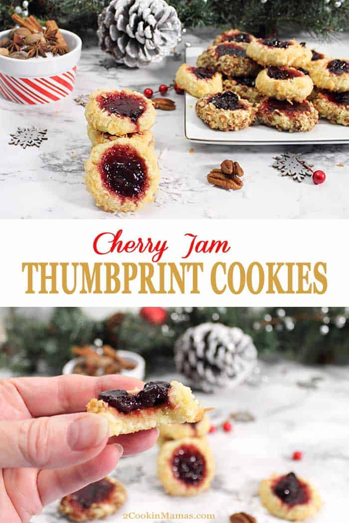 Cherry Jam Thumbprint Cookies | 2 Cookin Mamas Melt-in-your-mouth Cherry Jam Thumbprint Cookies are easy to make shortbread cookies with a dollop of your favorite jam to sweeten up your holidays! Roll in toasted coconut and top with a red jam to bring a little color to your Christmas cookie tray. #cookies #christmascookies #shortbread #thumbprints #recipe