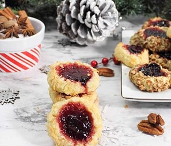 Cherry Jam Thumbprint Cookies square